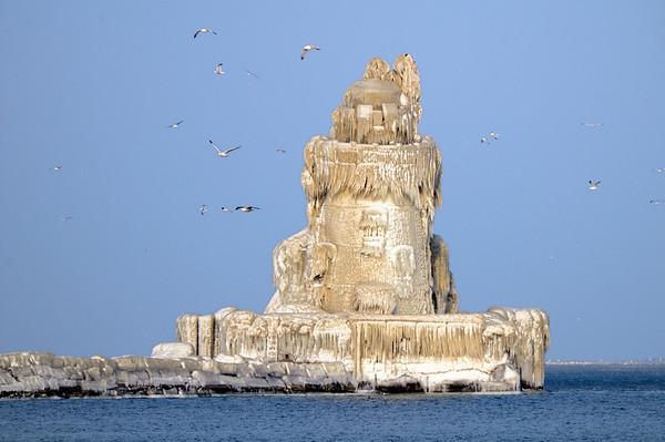 Frozen Cleveland Lighthouse