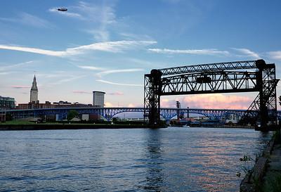 Goodyear Blimp over Cleveland, Ohio