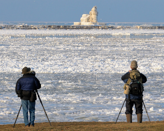 Photographers at the Cleveland's Frozen Lighthouse