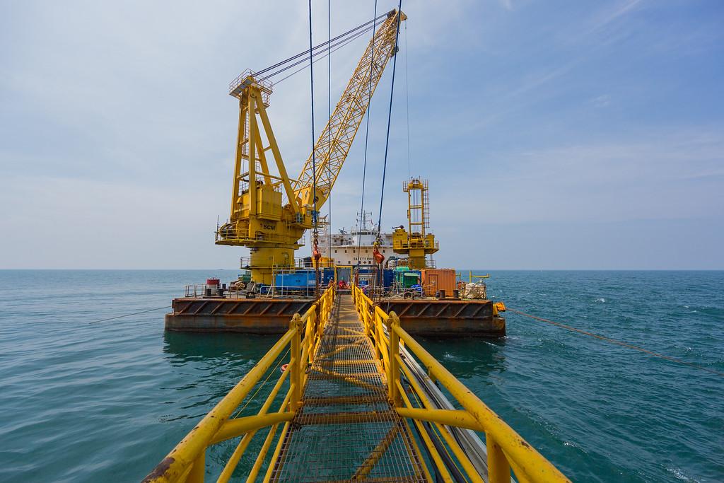 Footbridge to offshore oil rig