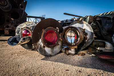 """""""Lights Camera Action""""  Old railroad crossing lights find residence on the desert ground at the Pacific Southwest Railroad Museum in Campo, California. There actually is a camera in the photo, find it if you can."""