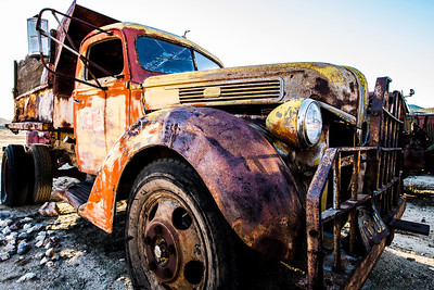 """""""Tarantino's Truck""""  This old truck look's like it could be a prop from one of Quentin's classic movies. I love the color configuration on this bad boy. This and many other amazing trucks are on display at the Motor Transport Museum in Campo, California at the old Feldspar Mill."""