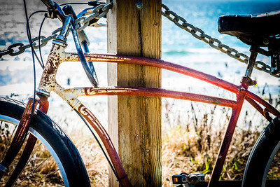 """Set Me Free""  An old beach cruiser sits and waits patiently to be ridden down the Pacific Beach boardwalk."