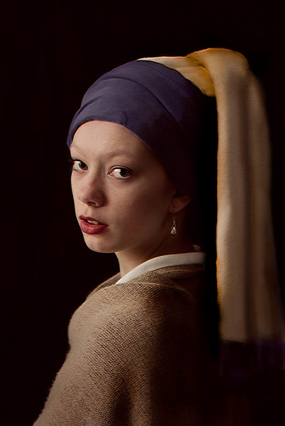 """""""Girl with a Pearl Earring"""" -- Lindsey as model to recreate Vermeer's famous work. Artistic effects added to give it a bit of texture, more like the original."""