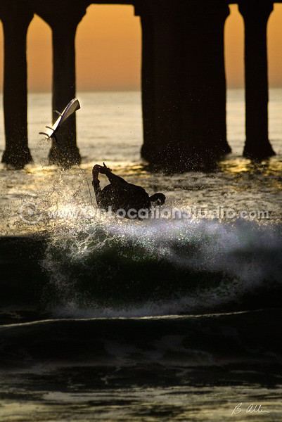 Surfer at Manhattan Beach Pier