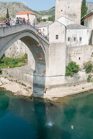 Day 4 - Playing around with the photo burst I made of the guy jumping from the Stari Most bridge in Mostar