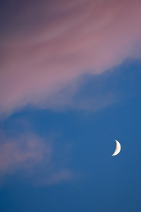 Moon in Sky at Sunset