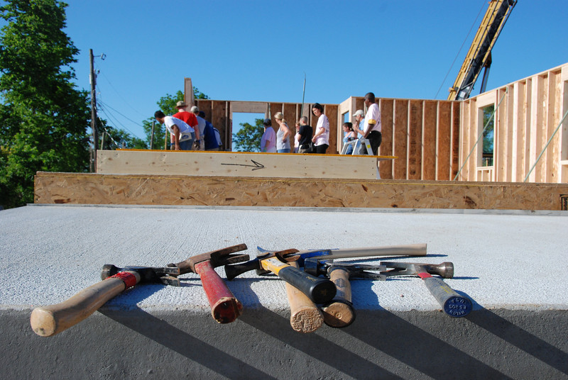 Hammers await builders at the Omaha Habitat for Humanity 2009 Blitz Build.