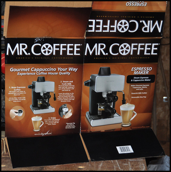 The Mister Coffee Box - The Exploding Mr. Coffee Espresso Maker - We received the coffee maker on Thursday, August 1, used it to make coffee on Friday, August 2, and it blew up today, August 3.  Hey, at least it worked for one day!