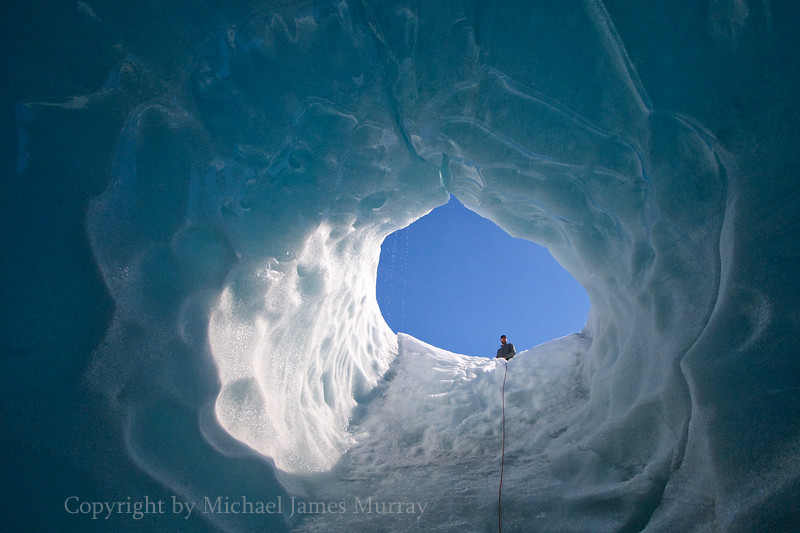 Ice Cavern in Mendenhall Glacier, Juneau, Alaska.