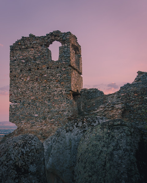 pink skies and ruins, macedonia