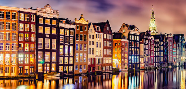 Facade along the main canal at sunset, Amsterdam