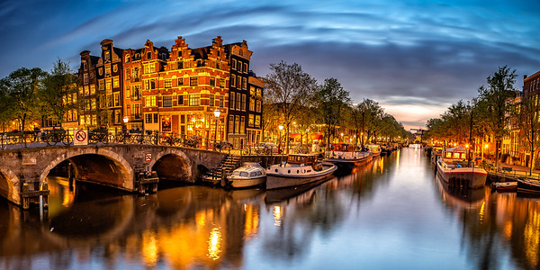Cafe along canal at sunset, Amsterdam