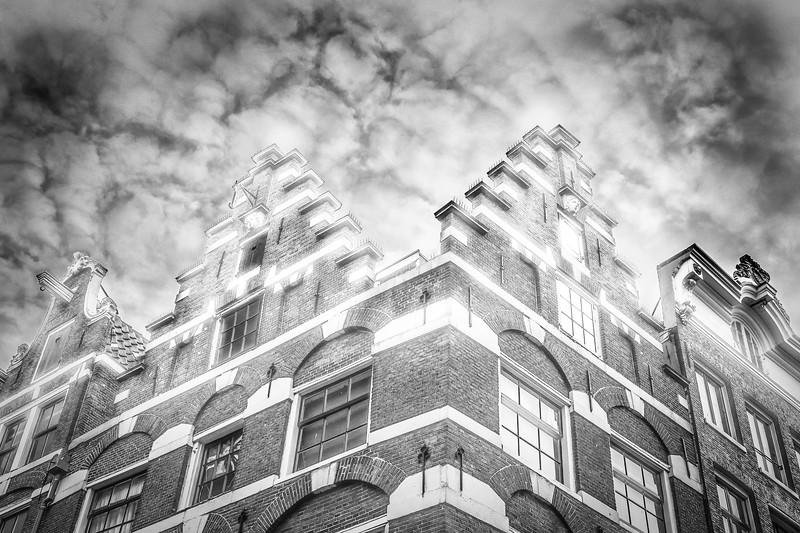 Buiding facade along a canal, Amsterdam