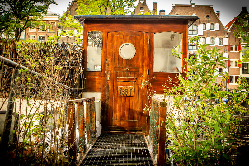Houseboat on a canal, Amsterdam
