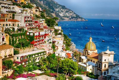 Positano, Italy bathed in late afternoon sun