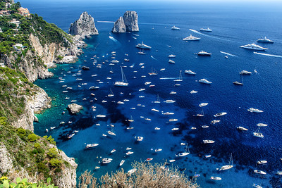 Boats moored off of Capri, Italy, as seen from Belvedere of Punta Cannone