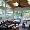 Navajo trail Screened Porch Interior:<br /> The paver patio floor extends beyond the rear wall creating a backyard grilling area.