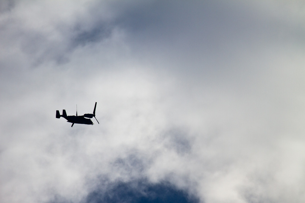 This MV-22 Osprey arrived at Sky Dive City in Zephyrhills, Florida on the morning of February 12th, 2012 for a training evolution with the SOCOM Paracommandos jump team.