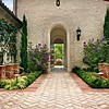 Beautiful Herringbone pavers combined with Spanish tile border