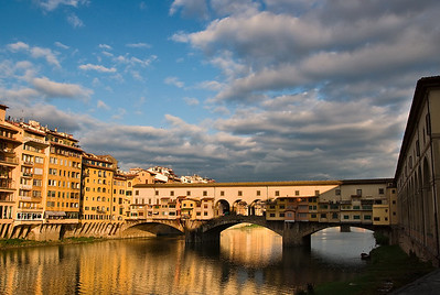 early morning in Florence at the Ponte Vecchio.
