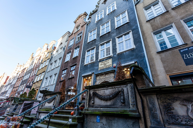 Old houses along Mariacka Street in Gdansk, Poland