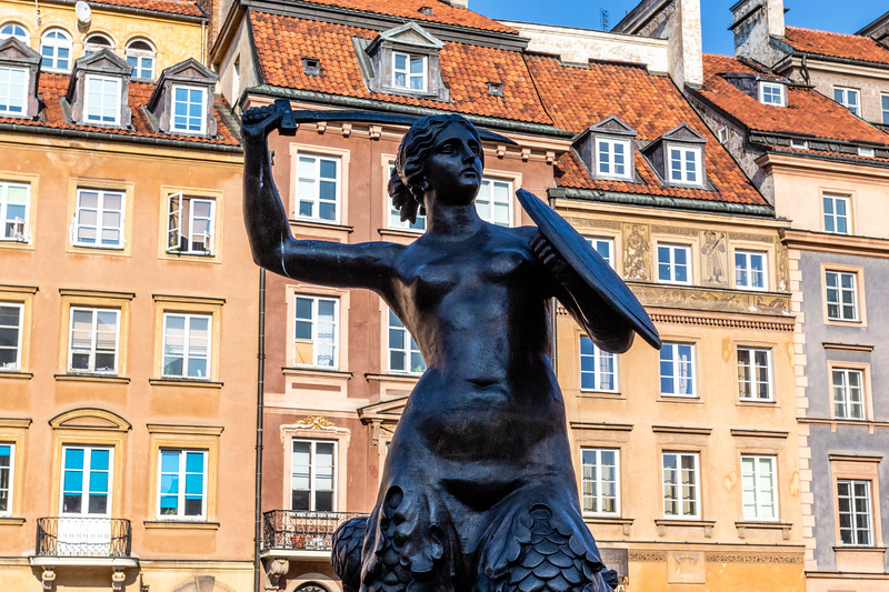 Facades of colorful old Medieval houses in Stare Miasto (Warsaw Old Town), Warsaw, Poland - Europe