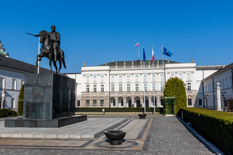 Exterior of the Presidential Palace (Palac Prezydencki) in Warsaw, Poland - Europe