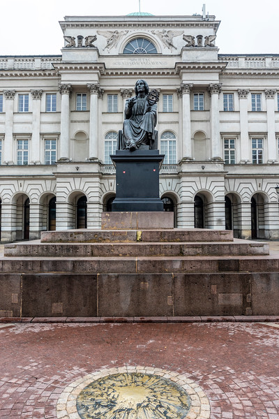 Nicolaus Copernicus Monument situated before the Staszic Palace in Warsaw, Poland - Europe
