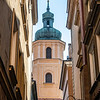 Bell tower of Saint Martin's Church in the old center of Warsaw, Poland - Europe