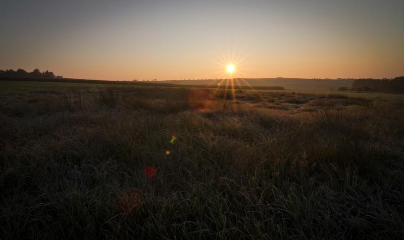Sunrise on a cold October morning, Kalchreuth (Franken)