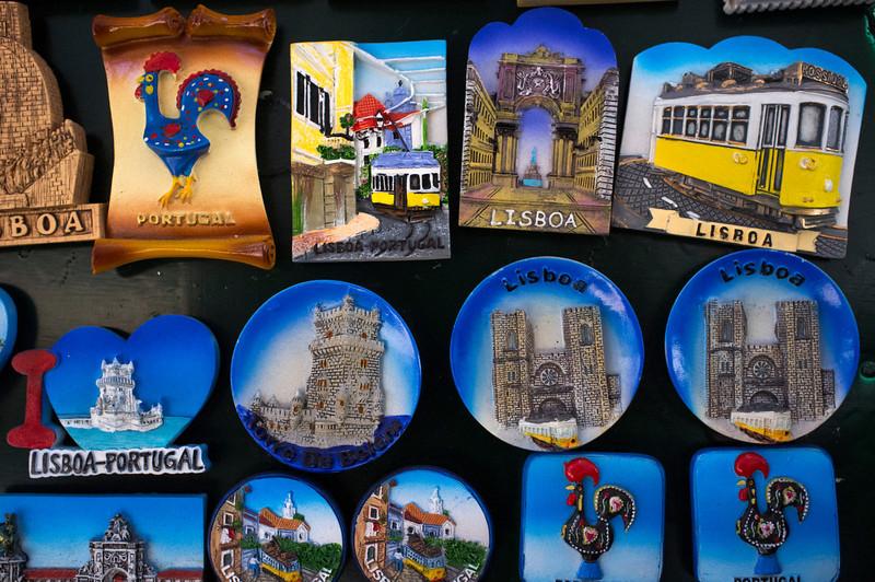 LISBON. PORTUGAL. TOURIST MERCHANDISE. LISBON MAGNETS.