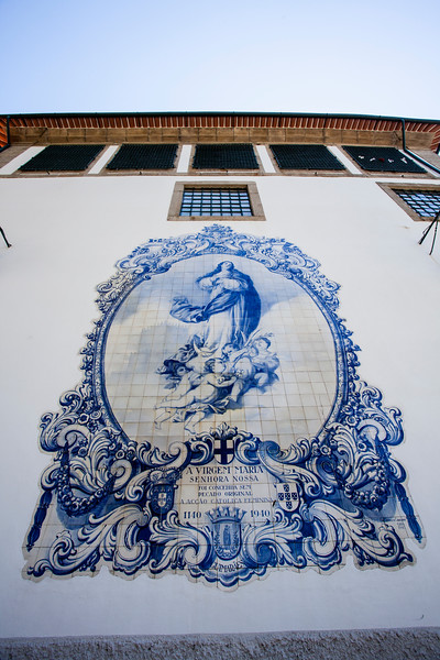 GUIMARAES. AZULEJOS ON THE WALL OF LAR DE SANTA ESTEFANIA.
