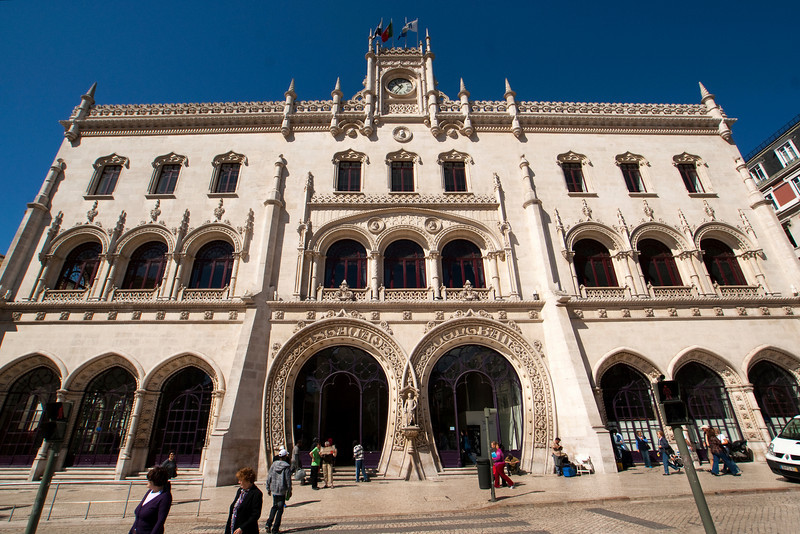 FACADE OF THE ROSSIO RAILWAY STATION. LISBON. PORTUGAL.
