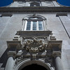 LISBON. PORTUGAL. CHURCH FACADE IN BAIXO CHIADO.