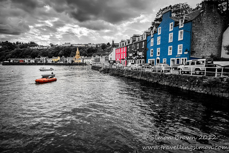 I wanted to highlight a little of the fun and beauty of the lovely colourful buildings of Tobermory on Mull so I thought what better way than to do a monochrome processing and selectively recolour a few of them?