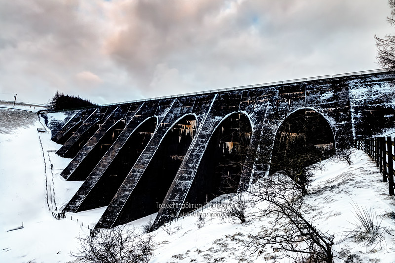 Lamaload Reservoir Dam Wall in Winter