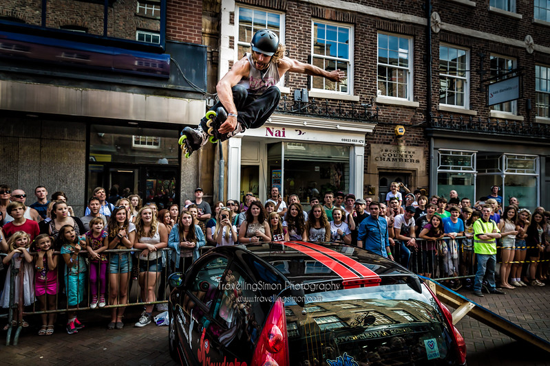 "Leo Oppenheim of  <a href=""http://www.flowskate.co.uk"">http://www.flowskate.co.uk</a> impresses the crowds jumping a car on inline skates as par of the Loominus Festival Macclesfield September 2012"
