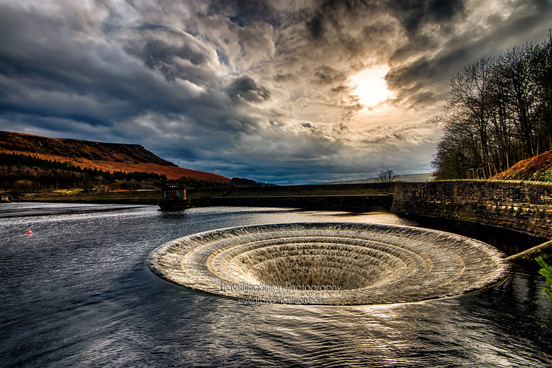 Ladybower Reservoir Bellmouth Spillway in Overflow