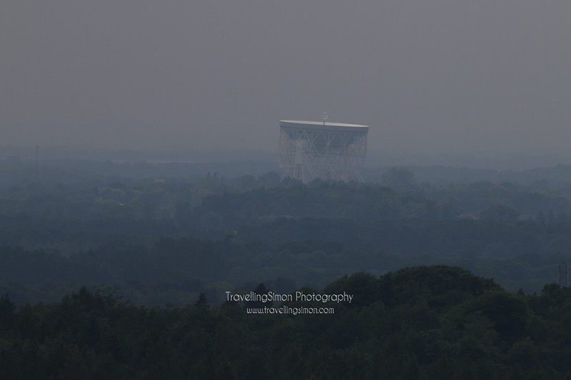 The Lovell Telescope at Jodrell Bank standing proud over the Cheshire Plain