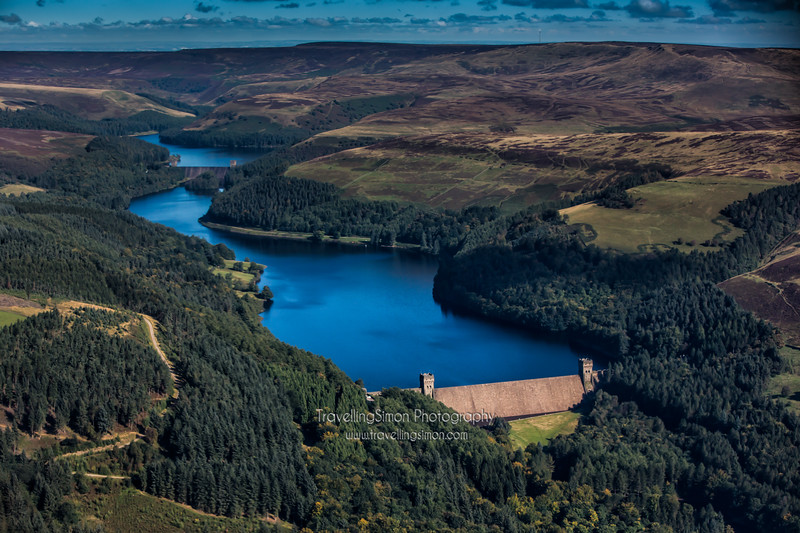 Derwent Reservoir in the Peak District from the air. The reservoir and dam were famously used by the Dambusters in the Second World War to practice their maneuvers and targeting