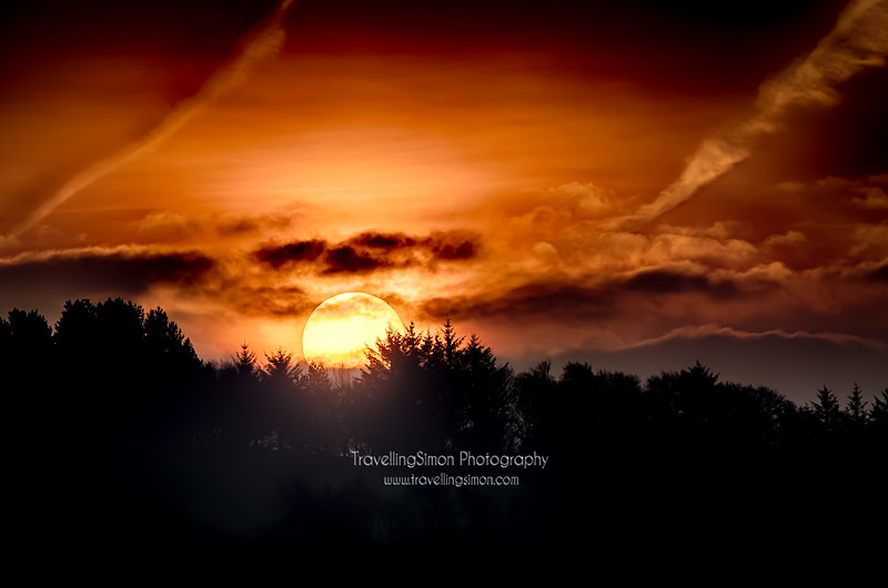 A Firey Sunrise over Macclesfield Forest