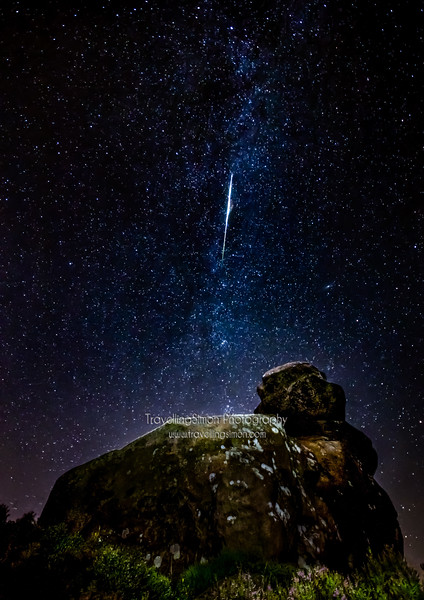 Perseid Meteor the Milky Way and Andromeda Galaxy Ramshaw Rocks, Staffordshire, U.K.