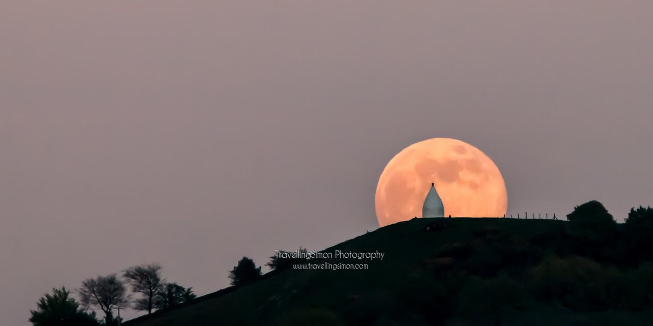 Full Moon Rising Over White Nancy, Bollington - not a composite