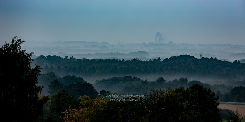 Jodrell Bank on the Misty Cheshire Plain