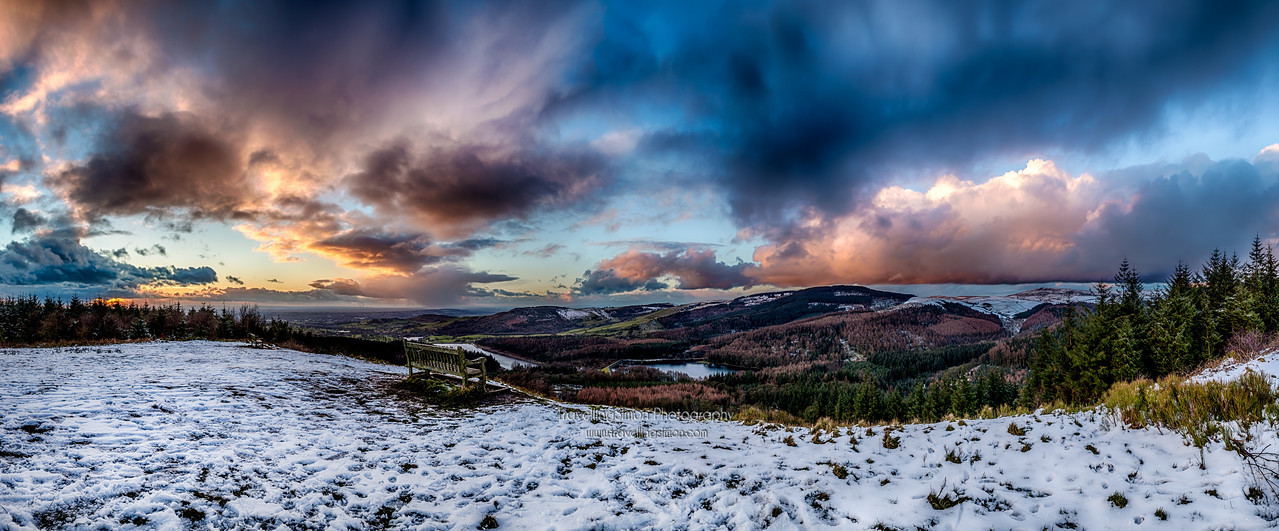 Macclesfield Forest Panorama showing Ridgegate and Trentabank Reservoirs and Tegg's Nose