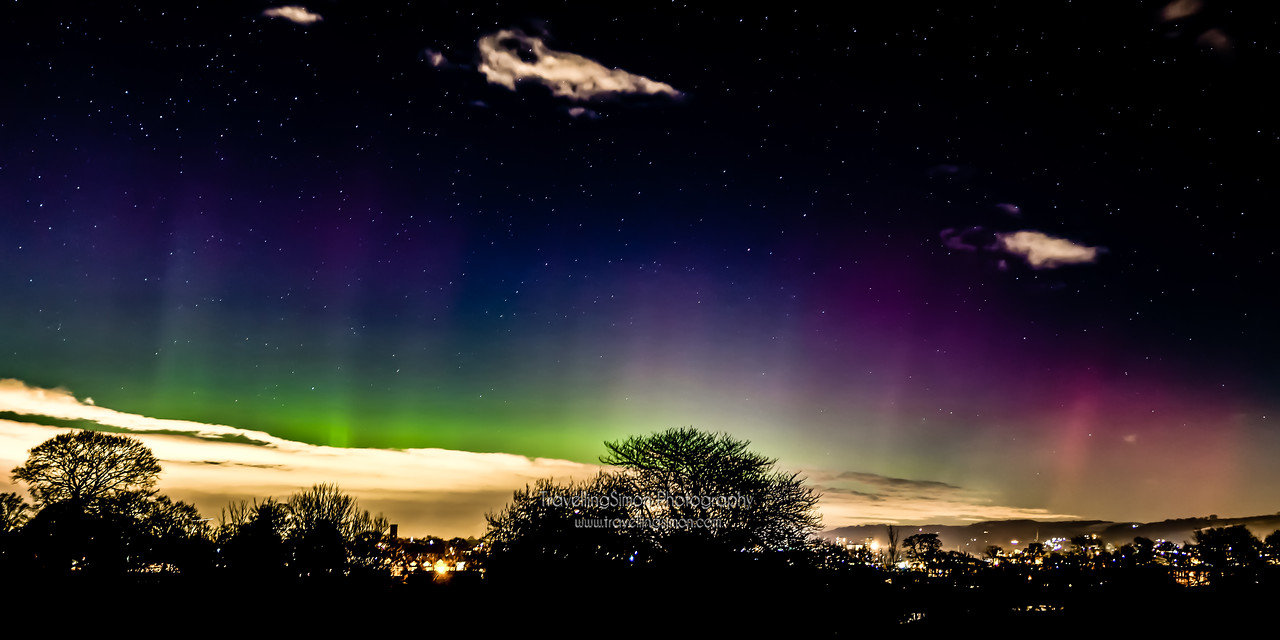 Aurora Borealis Over Macclesfield Stitched Panorama