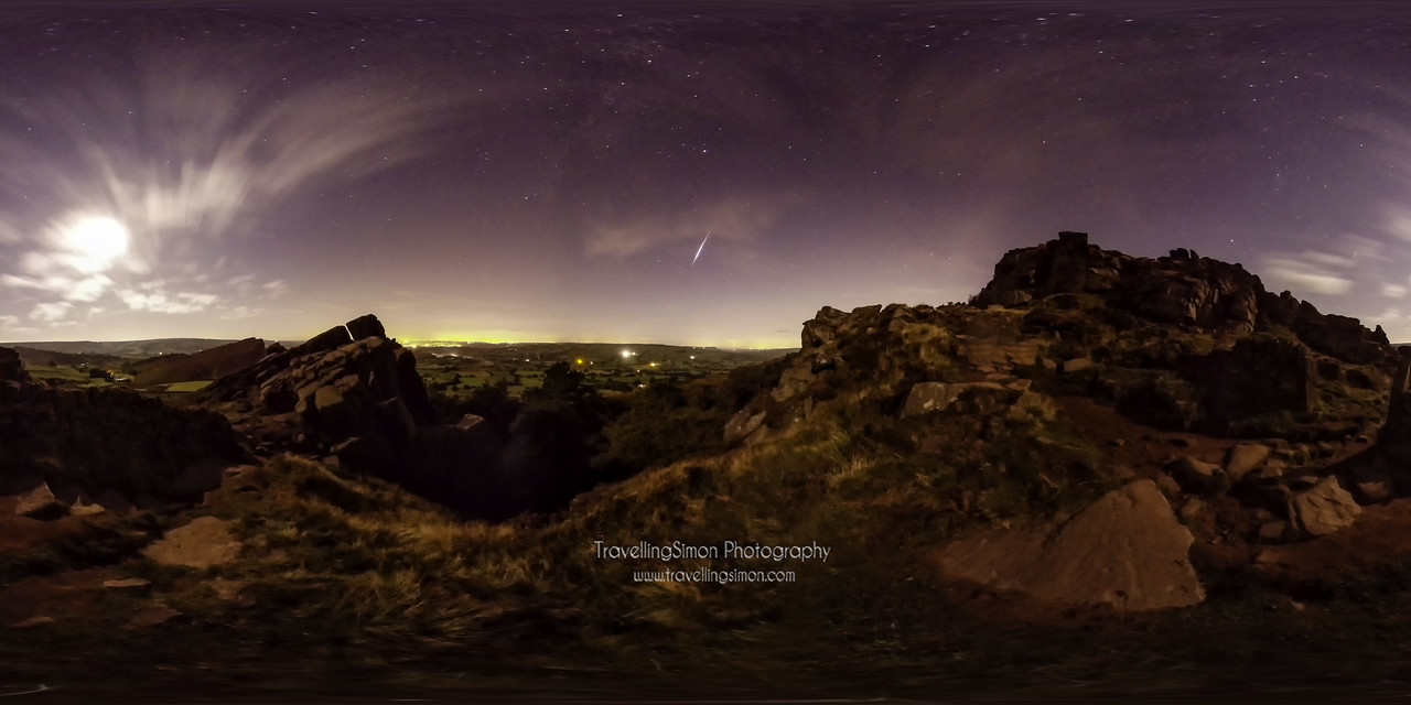 Perseid Meteor over the Roaches in 360 degrees