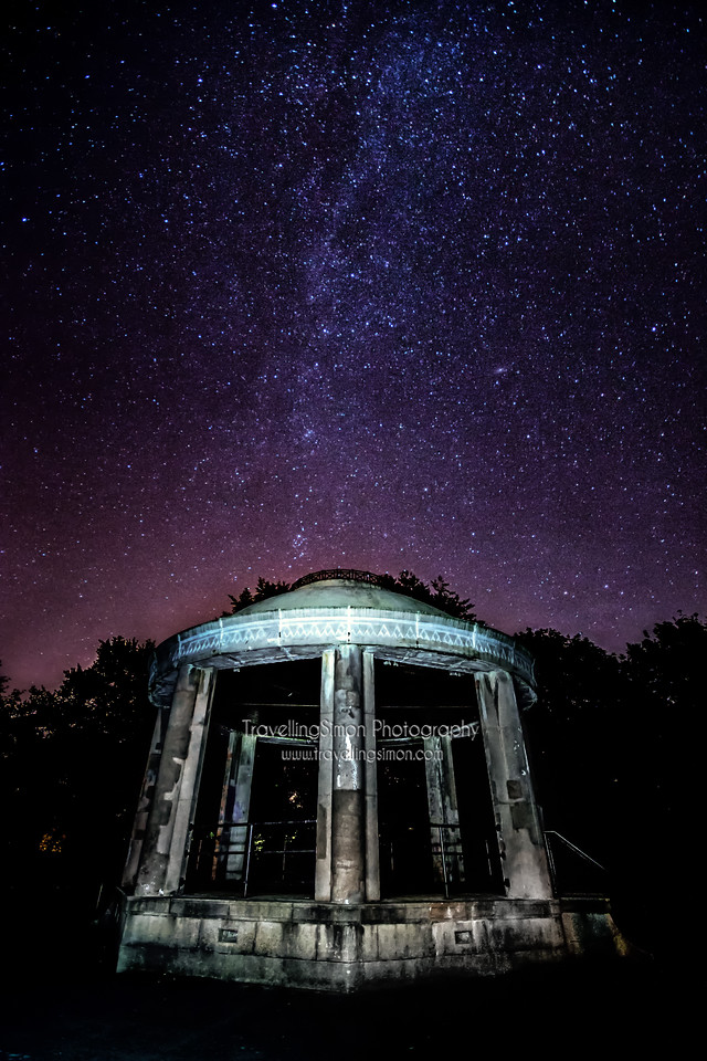 Milky way over South Park Bandstand Macclesfield 11th August 2015