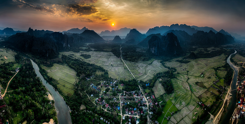 Hot-air ballooning over Vang Vieng, Laos